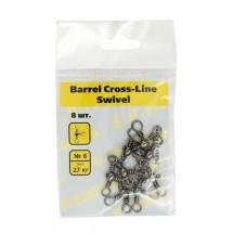Тройной вертлюг S.V-FISHING Barrel Cross-Line Swivel №6 (8шт.)