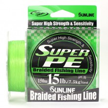 Плетеный шнур Sunline Super PE Light Green 150м 15lb #1.5