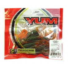 "Твистер YUM WALLEYE GRUB 4"" pumpkin green flakal orange (упак. 15шт) 449"