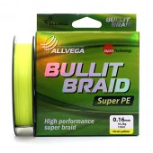 Плетеный шнур Allvega BULLIT BRAID Hi-Vis Yellow 135м 0,16мм